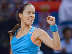 STG321. Stuttgart (Germany), 26/04/2014.- Ana Ivanovic of Serbia celebrates after winning a point against her compatriot Jelena Jankovic during their semi final match of the WTA tennis tournament in Stuttgart, Germany, 26 April 2014. Ivanovic won 6-3 and 7-5. EFE/EPA/BERND WEISSBROD