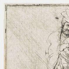 Armoedig geklede boer, de handen op de rug, een stok vasthoudend, Rembrandt Harmensz. van Rijn, 1628 - 1632 - Rijksmuseum