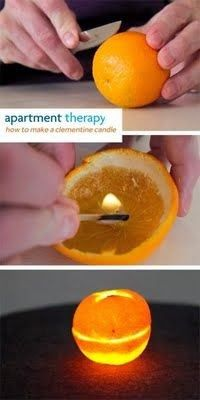 How To Make a Clementine Candle.~ Ingredients: • 1 clementine • olive oil • 1 sharp paring knife • many matches.