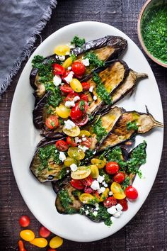 Grilled Eggplant Steaks with Fresh Tomato Relish and an Italian herb sauce called Gremolata. Keep it vegan or add crumbled cheese. A simple, healthy dinner recipe! Feastingathome Recipes steak Grilled Eggplant Steaks with Gremolata and Tomatoes Easy Healthy Dinners, Easy Healthy Recipes, Vegetarian Recipes, Vegetarian Cooking, Yummy Vegetable Recipes, Yummy Veggie, Fast Recipes, Dip Recipes, Grilling Recipes