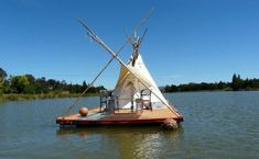 This tipi on a raft in a lake in Australia  | Offbeat Home. My dream house - even better if it had a hammock and a small gardening bed.