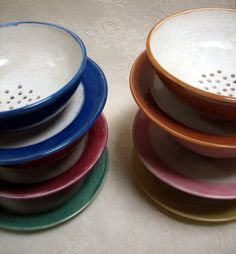 READY TO SHIP Handmade Berry bowls, wheel throw stoneware, pottery, clay ,six colors to choose from on Etsy, $68.00