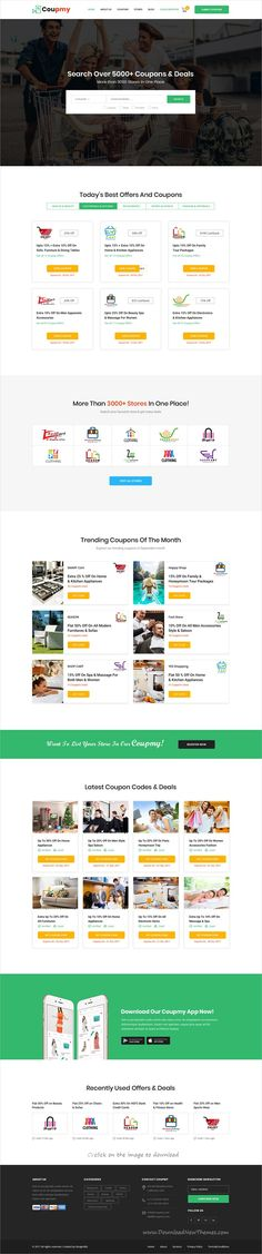 Coupmy is clean and modern design PSD template for coupons, affiliates, #offers, #deals, #discounts and eCommerce marketplace website with 19 layered PSD pages to download click on image.