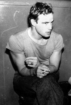 Marlon Brando on set of 'A Streetcar Named Desire'.