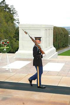 The Tomb of the Unknowns at Arlington Cemetery is a monument dedicated to American service members who have died without their remains being identified. It is watched at all times by tomb guards, soldiers of the United States Army's 3rd Infantry Regiment.