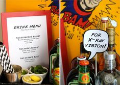 """""""Super Bar"""" drink menu: The Speeding Bullet, The Dark Knight, and The Spider Bite! #evite #party #drinks"""