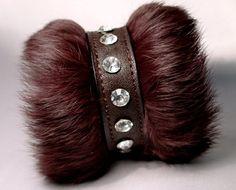 Punk Rock Brown Faux Fur Leather Bracelet Swarovski Crystals