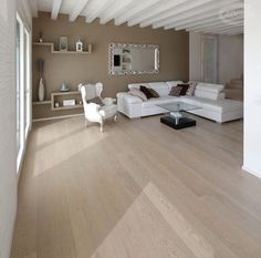 Rock Oak wood flooring / Parquet in rovere nella finitura Pietra Living Room Flooring, Home Living Room, Living Room Designs, Room Interior, Interior Design, Basement Inspiration, Bedroom Colors, Inspired Homes, Home Decor Styles