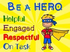 FREE - Be a HERO superhero poster for classroom bulletin board or door. Superhero classroom decor poster for elementary teachers / students.