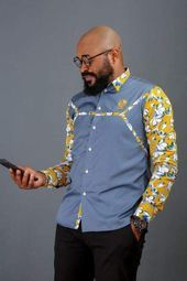 African Wear Styles For Men, African Shirts For Men, African Attire For Men, African Clothing For Men, Couples African Outfits, African Dresses Men, African Print Shirt, African Print Dress Designs, Nigerian Men Fashion