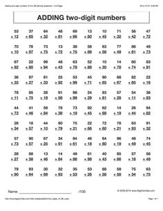 Printables 12th Grade Math Worksheets math worksheets and different styles on pinterest addition adding two digit numbers 6 to choose from