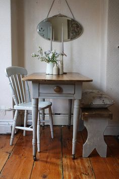 Lovely Rustic Vintage Pine Table on Castors with Single Drawer