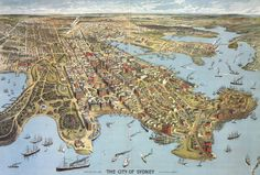 Detailed panorama of Sydney in 1888, Australia