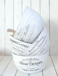 Gorgeous painted bowls with Graphics Fairy transfers from Dreams Factory: Boluri vintage French Made