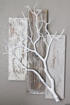 Three Piece Weathered Barn Wood with White Coral Branch Wall Hanging - Deko - . - Three Piece Weathered Barn Wood with White Coral Branch Wall Hanging – Deko – … - Home Crafts, Diy Home Decor, Diy And Crafts, Diy Decoration, Twig Crafts, Decor Ideas, Diy Ideas, Decorating Ideas, Decorations
