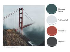 Paint palette inspired by the Golden Gate Bridge. Benjamin Moore Olympus Green, First Snowfall, Tucson Red, and Graphite.
