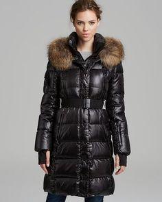 12c9d00fd8e8 Black Down Jacket Millenium Double Front Fur Trim - Lyst