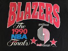 official photos 04c4d 9c598 Trail Blazers Jersey Shirt 90s Vintage 1990 Finals Portland Basketball Logo  7 Inc Tshirt Rip City Nba Hockey USA Striped Large