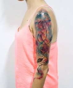 So Cute Watercolor Jellyfish Sleeve Tattoos for Girls | Pick Your Pic