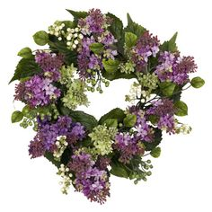 Adorned with faux lilacs and berries, this lifelike wreath is a welcoming accent in the entryway or displayed above your mantel.    Prod...
