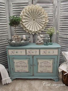 FRENCH STYLE SHABBY CHIC PAINTED SOLID SIDEBOARD.  the shutters make a great background