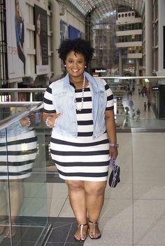 Who says plus size can't wear horizontal stripes? Work it gorgeous! Plus Size Fashion for Women Plus Size Fashion For Women, Black Women Fashion, Plus Size Women, Plus Fashion, Fashion Stores, Fashion Clothes, Fashion Online, Fashion Ideas, Fashion Websites