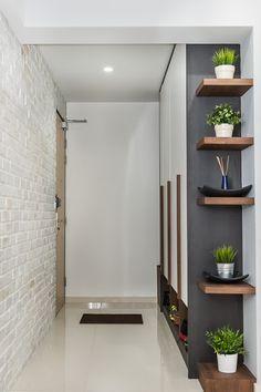 hall de entrada, madeira, branco, preto, sapateira, tijolinho pintado