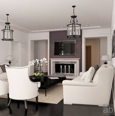 White sofa with fireplace in living room