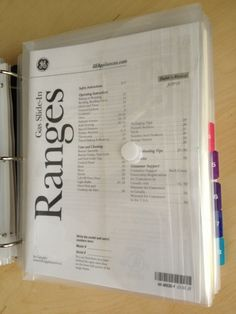 Organizing receipts and manuals