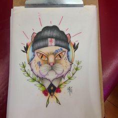 Harcore cat designe tattoo by kosas fallow me in Facebook kosas Tattoos
