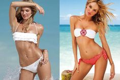 Shown here are side-by-side comparisons of unretouched paparazzi shots from a recent Victoria's Secret shoot featuring Candice Swanepoel and the airbrushed images (right) that ran in the chain's catalog. Thanks, @juliannayoung!