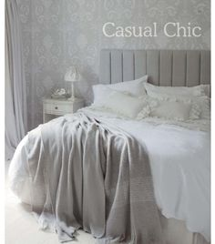 Casual chic, grey and white bedroom Laura Ashley.I would like to find curtains with the wallpaper print and have a light blue/grey simple wall color. Laura Ashley, Look Wallpaper, Bedroom Wallpaper, White Wallpaper, Beautiful Wallpaper, Wallpaper Ideas, Bedroom Furniture, Bedroom Decor, Bedroom Ideas