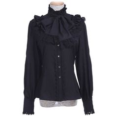 Nuoqi Women Lolita Lace Stand-Up Collar Lotus Ruffle Shirt Retro... ($36) ❤ liked on Polyvore featuring tops, blouses, victorian shirt, retro button down shirts, victorian ruffle blouse, victorian lace blouse and lace button up shirt