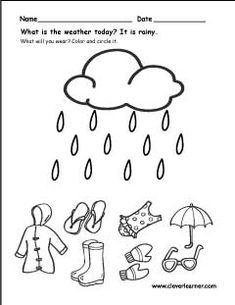 The weather worksheets for preschools Seasons Worksheets, Weather Worksheets, Science Worksheets, Worksheet For Nursery Class, Nursery Worksheets, Weather Activities Preschool, Preschool Learning Activities, Homeschool Kindergarten, Kindergarten Worksheets