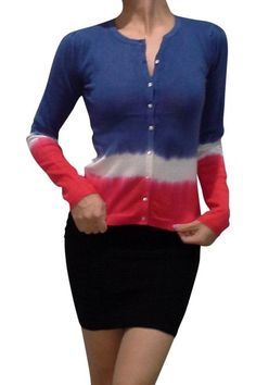 Cotton and Natural Fiber Cardigan! Blue with Gradient Tie Dye.