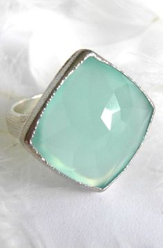 Aqua Blue Chalcedony Signature Ring