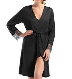 2293d5f387 Luxurious micromodal   silk dressing gown with beautiful jacquatronic lace  panel. Gifts For Women