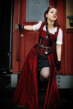 Steampunk - love the stripes - possible idea for my new corset -