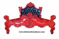 Montespan King Size Bed -- IN STOCK. With its intricate and elaborate carvings, this luxurious mahogany, hand-carved mahogany, Royal Fortune Fr. Rococo Furniture, Louis Xvi, King Beds, Baroque, Canopy, French, Luxury, Bedrooms, Beautiful Beds
