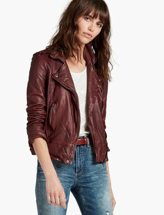 <p>Full of classic refinement, the Authentic Moto jacket features an asymmetrical front zipper, front pockets, shoulder epaulettes and long sleeves.</p><ul><li>23 inches long at hips </li><li>32.25 inches long at sleeve from neck</li></ul>