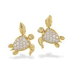 Yellow Gold Sea Turtle Pavé Diamond Earrings Life Jewelry