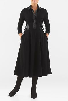 I <3 this Faux leather lace-up cotton knit shirtdress from eShakti