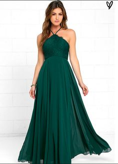 LULUS - Everlasting Enchantment Dark Green Maxi Dress. This dress will have admirers under your spell! Adjustable spaghetti straps support a lacy halter bodice, then crisscrosses at the back. Layers of chiffon sprout from a fitted waist, then sweep down to an elegant maxi length.