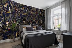 Rebel Walls - The Swedish Forest Mural, nature, dark – Trendy Accent Wall Commercial Wallpaper, Forest Mural, Bedroom Wall Designs, Home Wallpaper, Quirky Wallpaper, Wallpaper Paste, Pattern Wallpaper, Pine Needles, High Quality Wallpapers