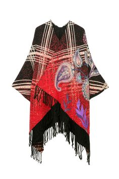 Poncho Madras Indie Flores