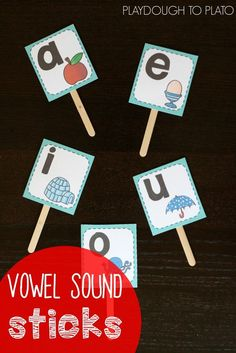 Free Vowel Sound Sticks. What a fun way to help kids learn tricky vowel sounds! Perfect for guided reading groups or homeschool activities.