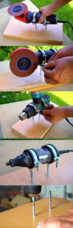 Do it yourself. The simplest home device … – Schreibtisch ideen – Dremel Garage Tools, Diy Garage, Garage Workshop, Wood Tools, Diy Tools, Homemade Tools, Tool Storage, Simple House, Dremel