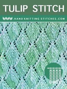 The Art of Lace Knitting - Tulip Lace Pattern. The most advanced technique used is the – the other techniques are pretty straightforward. Lace Knitting Stitches, Lace Knitting Patterns, Easy Knitting, Loom Knitting, Stitch Patterns, Knit Stitches For Beginners, Knitted Blankets, Knitting Projects, Knit Crochet