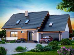 DOM.PL™ - Projekt domu DN Lisandra 2M CE - DOM PC1-60 - gotowy koszt budowy Facade House, Tropical Houses, Home Fashion, House Plans, Solar, Garage Doors, Shed, New Homes, Farmhouse