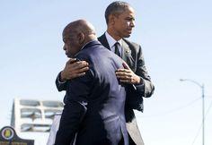 President Barack Obama hugs Rep. John Lewis, one of the original marchers at Selma, at the Edmund Pettus Bridge in Selma, Ala. on March 7, 2015.